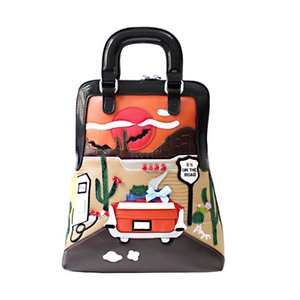 Johnature criativa dos desenhos animados Mulheres de couro Backpack 2020 New Handmade Bordados emenda Mini saco de embalagem sacos de viagem Moda
