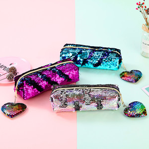 Shinning Pencil Case Colorful Sequin Large Stationery Storage Organizer Bag School Office Supply Escolar Cosmetic Holder Girl