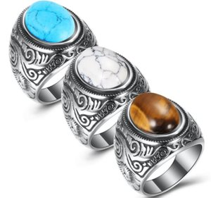 Retro Natural Black Blue Turquoises Rings Men Vintage Stainless Steel Titanium Ring Male Ring Jewelry Hot Sale