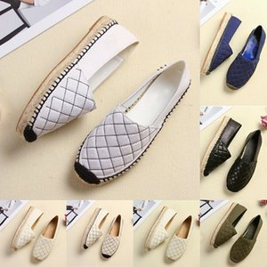 2020 Scarpe donna di alta qualità di nuovo modo delle ragazze Espadrillas pedana piatta per l'estate Quadrato Linea grande formato doppio metallo Casual Shoes