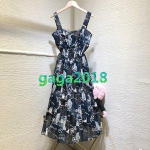 di fascia alta camicia donne ragazze conferisce una linea di abiti a pieghe lettera coperto motivo floreale cinghia di stampa senza maniche midi gonne moda una linea dresse