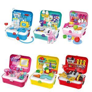 어린이 배낭 Prentend 완구 주방 도구 메이크업 의사 플레이 플레이 복장 장난감 도구 가방 장난감은 아이들을위한 크리스마스 선물을 설정