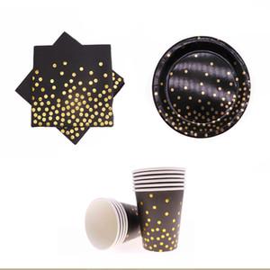 40 adet / altın folyo siyah tek kullanımlık sofra parti fincan kağıt tabak doğum günü partisi malzemeleri doğum günü düğün dekorasyo ...