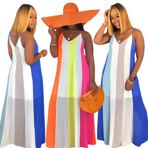 Contraste Couleur Femmes Robes rayé Casual plage Sling manches col en V Robes longues Robes Casual Mode Femmes