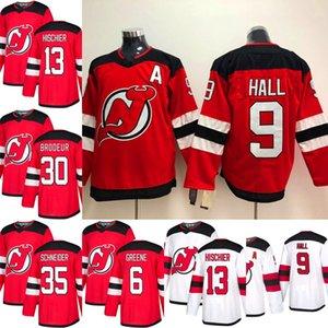 2018-2019 Saison New Jersey Devils Jersey 9 Taylor Hall 13 Nico Hischier 30 Martin Brodeur 35 Cory Schneider Rote Eishockey-Trikots