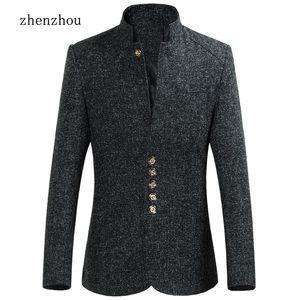ZhenZhou Blazer мужчины 2017 осень новый стиль стенд воротник мужской пиджак Slim Fit мужская Blazer куртка плюс размер M-5XL 6XL высокое качество