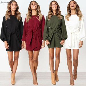 Womens Autumn Solid Red Polyester Vintage Slashes Long Sleeve Knit Tight Corset Pencil Cocktail Party Sweater Dress 4 Colors