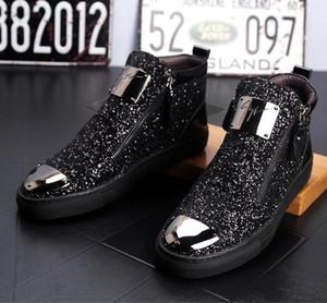 botines de estaciones de los hombres europeos de alta superior zapatos zapatos casuales estilista británico Martin botas de pelo de los hombres de lentejuelas 38-43