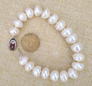 2019 nuove immagini foto reali BELLA 11-12mm south sea white pearl bracelet 7.5-8inch 925s spedizione gratuita