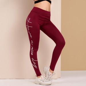 Toptan Kadınlar Spor Yoga Pantolon Yüksek Bel Burgonya Polyester Spandex Legging Kadınlar Elastik Harf Baskı Artı Tozluklar S-3XL Pantolon Koşu