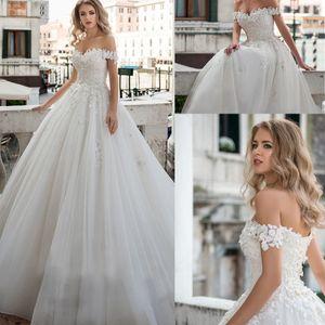 Милая вырезка с плечами жемчуга кружева аппликация шариковое платье свадебное платье на шнуровке заднего хода поезда двор Vestido de Noche