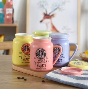 Céramique tasse de café avec couvercle en céramique Biscuit tasses Tasses à café Creative biscuits tasse de lait Dessert Thé Gobelets 4color GGA3070