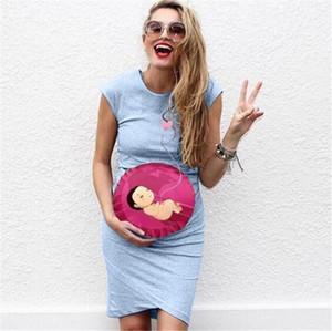 Cuello vestidos de la manera de las mujeres vestidos de embarazo las mujeres del diseñador vestidos de Baby Love Impreso floja ocasional corto Crew Manga