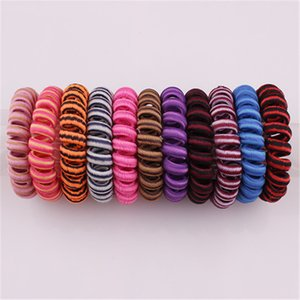 Elastic Coil Spiral Hair Bands Telephone Ring Chain Hair Tie Rope Ring Party Favor Baby Girl Ponytail Holders Hair Accessories HN452