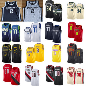 Carmelo Anthony 00 3 Davis Giannis 34 Antetokounmpo Jerseys 77 Doncic 11 Young 2 Gigi Colégio Homens NCAA Basketball Jersey