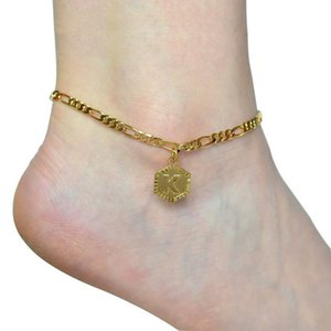 Joyería encanto de la letra para el tobillo de moda para mujeres de la muchacha del alfabeto de la letra inicial para el tobillo de acero inoxidable Figaro cadena de acoplamiento de la pulsera ajustable