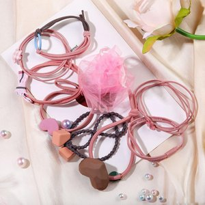 8pcs set Women Girls Hair Rubber Bands Ponytail Holder Elastic Resin Heart Star Bow Cube Charm Fashion Hair Rope with Storage Yarn Bag
