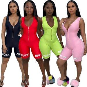 Mulheres Jumpsuits Macacões Verão Vestuário Carta Novo Estilo V-neck Zipper macacãozinho Bodycon Shorts mangas S-XL DHL C668