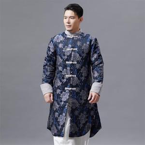 Style chinois pour hommes Tang Costume Veste Oriental traditionnel Vêtements stand col longue robe pour hommes Vêtements ethniques