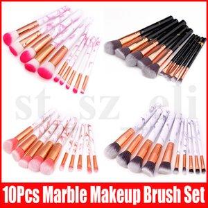 Nuevos 10pcs / set de pinceles de maquillaje de mármol Sets se ruboriza polvo sistema de cepillo del maquillaje Fundación Eyeliner de la ceja compone cepillos