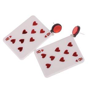 فنون قلوب 8 مسمار أقراط تتدلى أوراق اللعب بوكر الأذن قطرة الاكريليك الأحمر يصلح مجوهرات