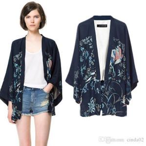 Phoenix impression Kimono manches chauve-souris Lady Cardigan Kimono Veste femmes Cap-vêtement