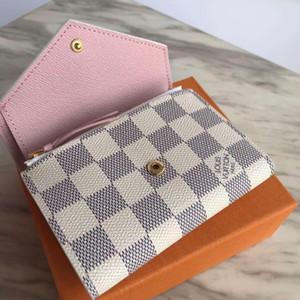 França Designer cheques carteira cartão de crédito Photo Titular Carteira de couro Brown Mono Gram Branco Checkered Canvas frete grátis
