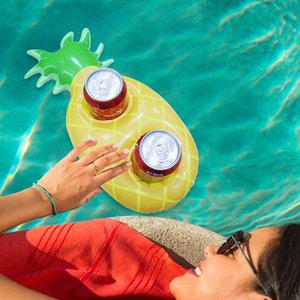 Creative Inflatable Drink Cup Holders Large 2 Holes Pineapple Fruits Water Floating Drink Coke Holder Swimming Pool Accessories