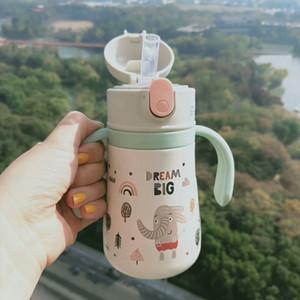 핸들 어린이 야외 선물 음료 용기와 ZhiMi 아기 절연 316L 스테인리스 보온병 컵 여자 남자 겨울 360ML는 진공 머그컵