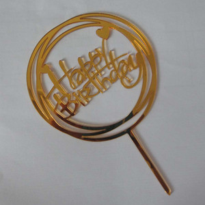 Vendita calda torta di buon compleanno decorazioni Inserito Bandiera acrilico cake topper per feste multi stili Decor acrilico Cake Toppers DH0947 T03