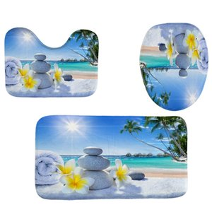4Pcs Home Bathroom Decor Set Seaside Carpet Pattern Toilet Seat Cover Bath Mat Set Waterproof Shower Curtain