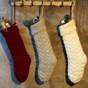Décoration de Noël en tricot Hanging Cadeaux Stocking Candy Bag Party Sac de vacances Bas de Noël de fête fournitures 3 couleurs ZZA1150