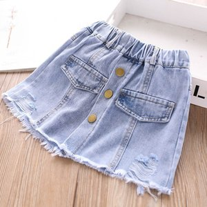 Summer new arrived 2020 hole girls skirts denim kids skirts fashion soft girls skirt kids designer clothes girls wear wholesale B1486