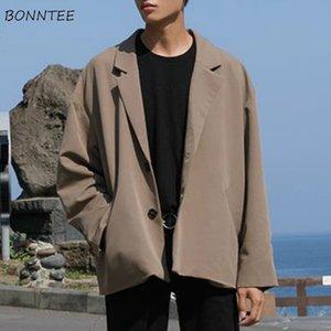 Chaquetas de los hombres de otoño solo pecho bolsillos sólidos retro floja de gran tamaño de moda de ocio elegante estilo coreano Adolescentes trajes masculinos ulzzang