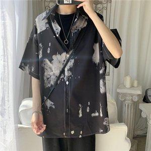Summer Flower Shirt Men's Fashion Printed Casual Shirts Mens Wild Dress Shirt Men Streetwear Loose Short Sleeve M-2XL