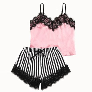 Sexy lingerie pajamas for women kigurumi home clothes nightie V-Neck Lace Satin Striped Camisole Sleepwear Bowknot Shorts Set 50