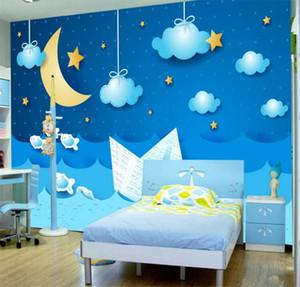 Fond d'écran personnalisé 3D Cartoon étoiles lune Photo Murale Chambre d'enfant Kindergarten Belle décoration intérieure Papier peint Papel De Parede Infantil