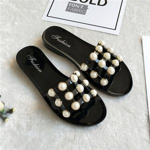 Pearl Beach Kürsör On Kesim-Out Jelly Sandalet Yaz Şeker Terlik Kadın Ayakkabı Flats Bayanlar Flipflops Bayan Zapatos Mujer Kayma