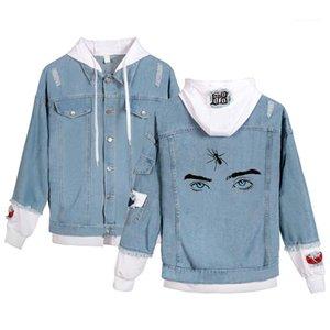 Patrón de ropa Ojos Impreso agujero con paneles solo pecho chaqueta de Jean de los hombres de manga larga con capucha de la chaqueta Pareja