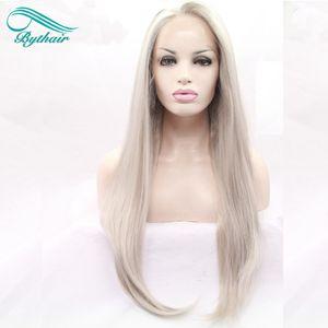 Bythair resistente ao calor sliver sintético cinza loira laço cinza dianteira peruca longa longa prata platina loira média de peruca