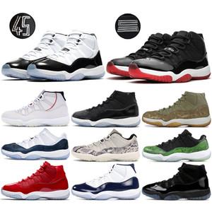 콩코드 높은 45 개 11 개 남성 농구 신발 자란 모자와 가운 체육관 승리처럼 82 플래티넘 색조 뱀 남성 운동화 11S 스타일 신발