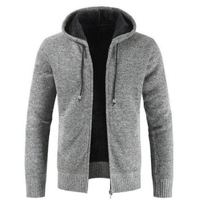 Fashion Hooded Jacket For Men Causal Thick Coats Autumn and Winter Long Sleeve Cardigan Mens Zipper Fly Sweatshirts