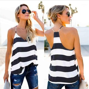 Color Fashion Loose Camis Sexy V Neck Halter Sashes Camis Womens Clothes Striped Panalled Print Womens Camis Contrast