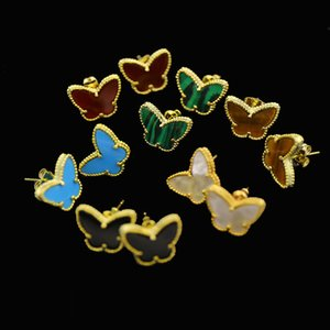 Yellow 18kgp Plated Nature Malachite red Gem Charms Butterfly Stud Earrings Jewelry for Children Girls Baby Kids Women Gifts