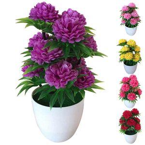 1Pc Bright Color Lifelike Artificial Chrysanthemum Bonsai Potted Fake Plant Landscape Home Floral Decor