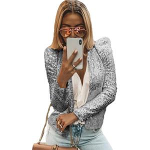 Las mujeres delgado ocasional de la chaqueta de lentejuelas de la vendimia tapa de la chaqueta de la manga Outwear larga carrera formal capa larga delgada de las señoras OL juego de la ropa