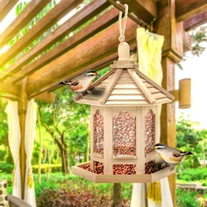 مغذيات الطيور خشبية معلقة بذور نوع في الهواء الطلق الحيوانات الأليفة الطيور الغذاء الطاعم شجرة حديقة وجبات خفيفة دلو حامل الطيور محطة تغذية الطاعم