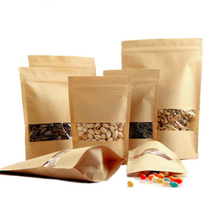 Kraft Paper Bags Zipper Stand up Food Moisture-proof Bags Reusable Sealing Pouches with Transparent Window Bags