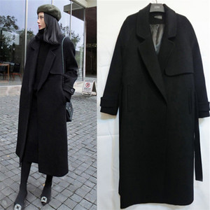 여성용 양모 블렌드 2021 봄 가을 겨울 활주로 캐주얼 블렌드 트렌치 코트 대형 긴 여성 캐시미어 겉옷