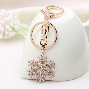 Klasik Âşıklar Hediye Takı İçin Yeni Güzel Noel kar tanesi Elmas KeyChain Snow Flake Anahtarlık Ring Çanta kolye